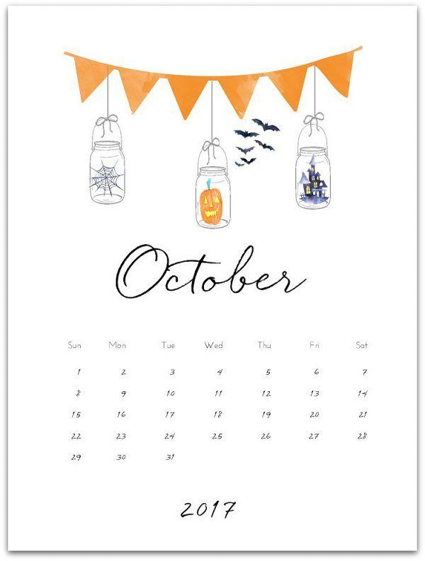 October 2017 free calendar page printable. Mason jar calendar page printable for October 2017. Download and print free calendar page with mason jars.