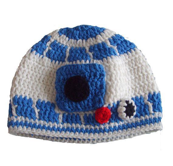 Crochet R2D2 robot Hat adult male