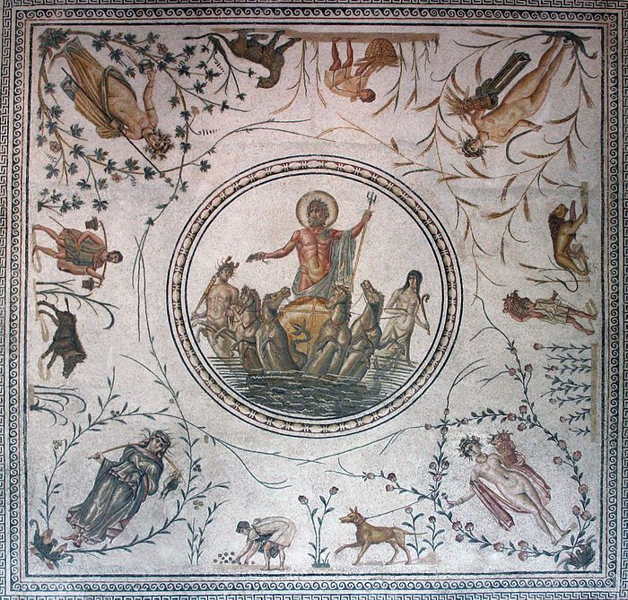 Roman mosaic depicting the Triumph of Neptune with the seasons in each corner and agricultural scenes and flora. La Chebba, Tunisia, late 2nd century | Bardo National Museum