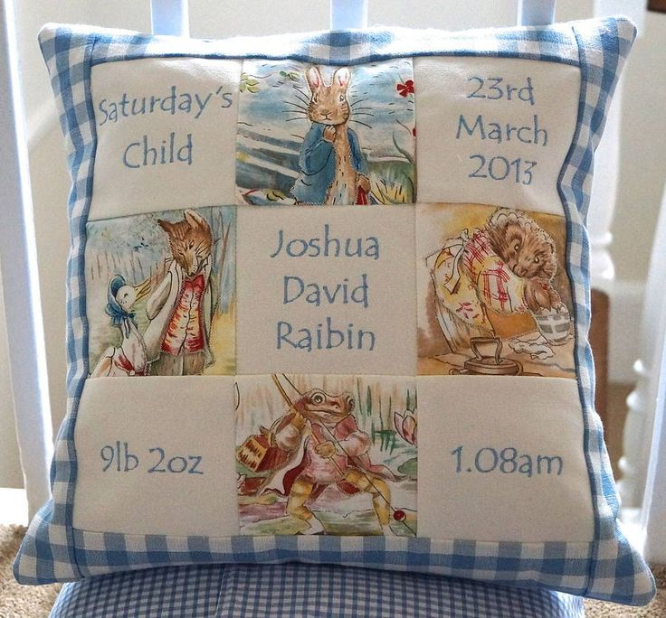 Blue Beatrix Potter Memory Cushion by Tuppenny House Designs