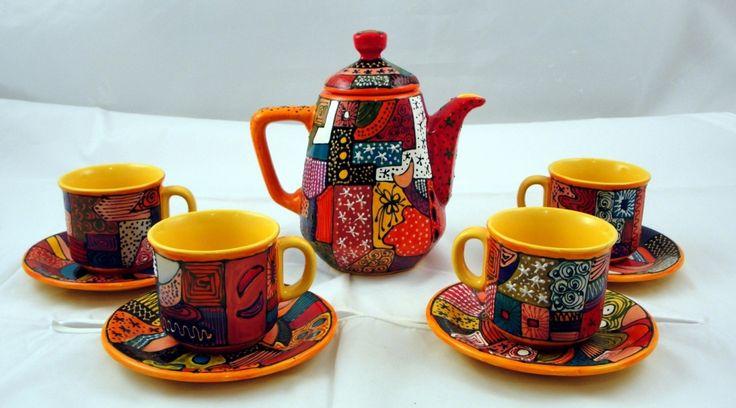 ceainic set ceai pictat manual handmade