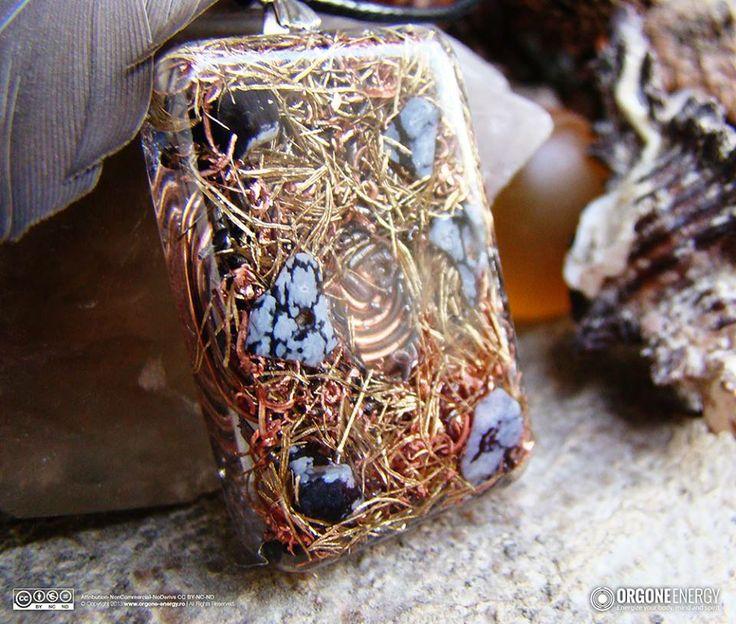 Orgone-Energy Pandantiv Dreptunghiular cu Obsidian Snowflake
