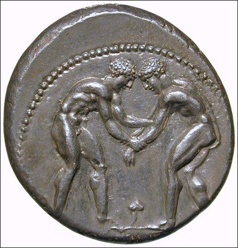 The pale (wrestling)  Silver stater, ca. 400–380 BC, Aspendus, Pamphylia  Obverse: Two wrestlers in starting position