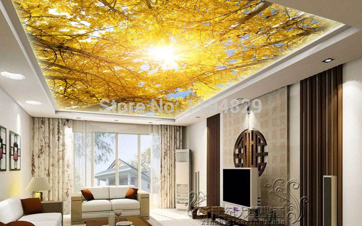 The autumn sunlight tree and leaf 3d beauty of nature for 3d ceiling paper