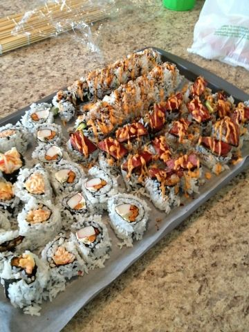 Steak Topped Shrimp Tempura Sushi Rolls