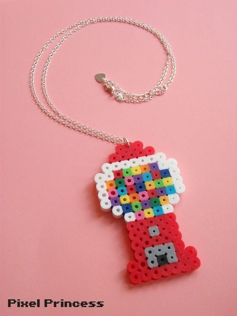 "A cute gumball machine made of Perler Beads and attached to an adjustable 20-22"" chain!"