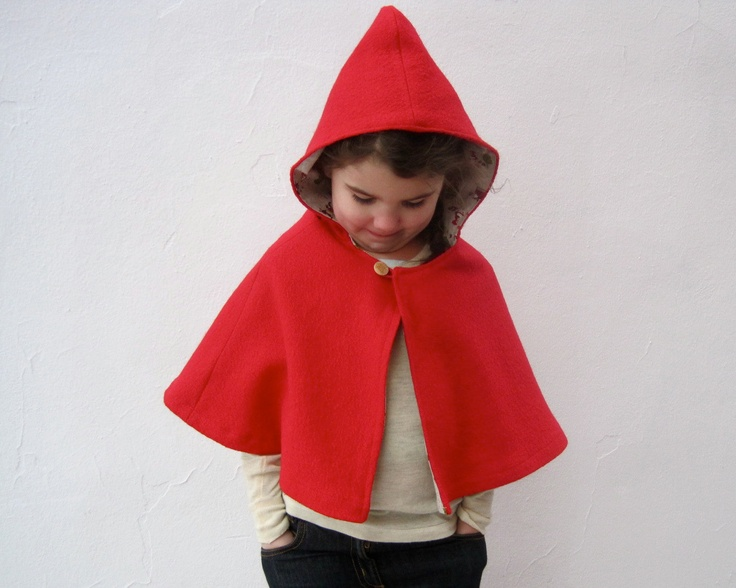 girls CAPE little red riding hood shrug baby and toddler // one size fits 1T 12 months to 3T in boiled wool. $75.00, via Etsy.