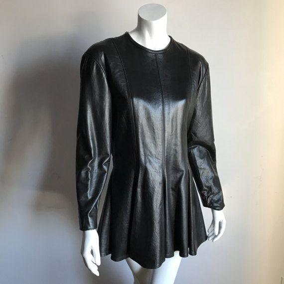 Sharon Stone Ann Klein 10 schwarze Lammleder Kleid 80er Jahre