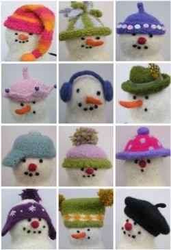 Snowmen hats and snowmen.  I have made these and they are adorable.  You can get pattern from the esty site.