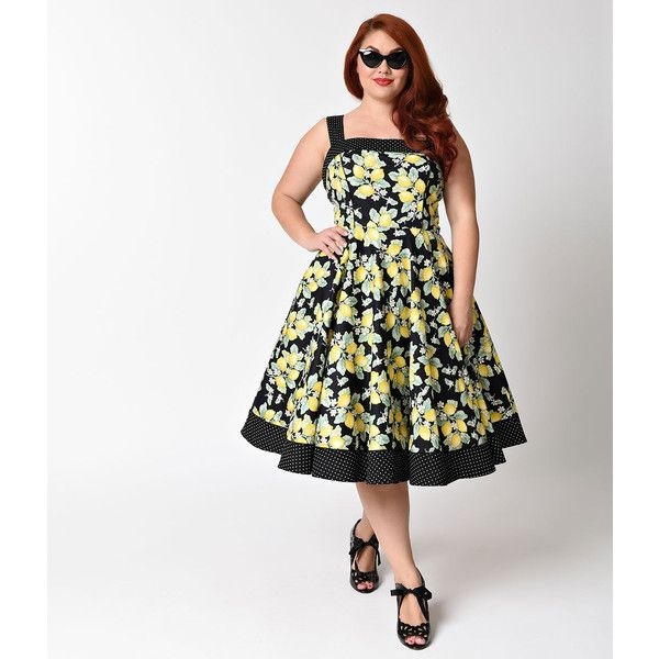 Hell Bunny Plus Size Pin Up Leandra Lemons Swing Dress ($74) ❤ liked on Polyvore featuring plus size women's fashion, plus size clothing, plus size dresses, yellow, plus size trapeze dress, plus size polka dot dress, swing dress and plus size yellow dress