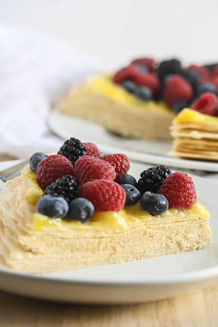 Gluten-Free Buttercream Crepe Cake with Lemon Curd Topping