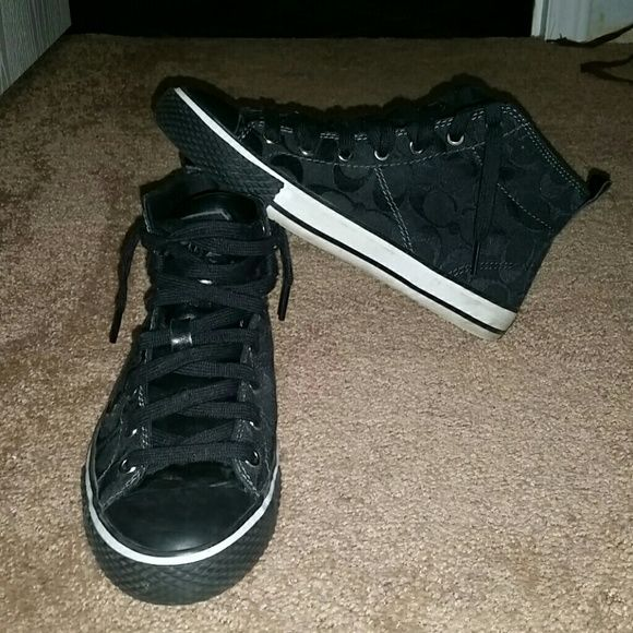 all black and white coach shoes high top coach shoes