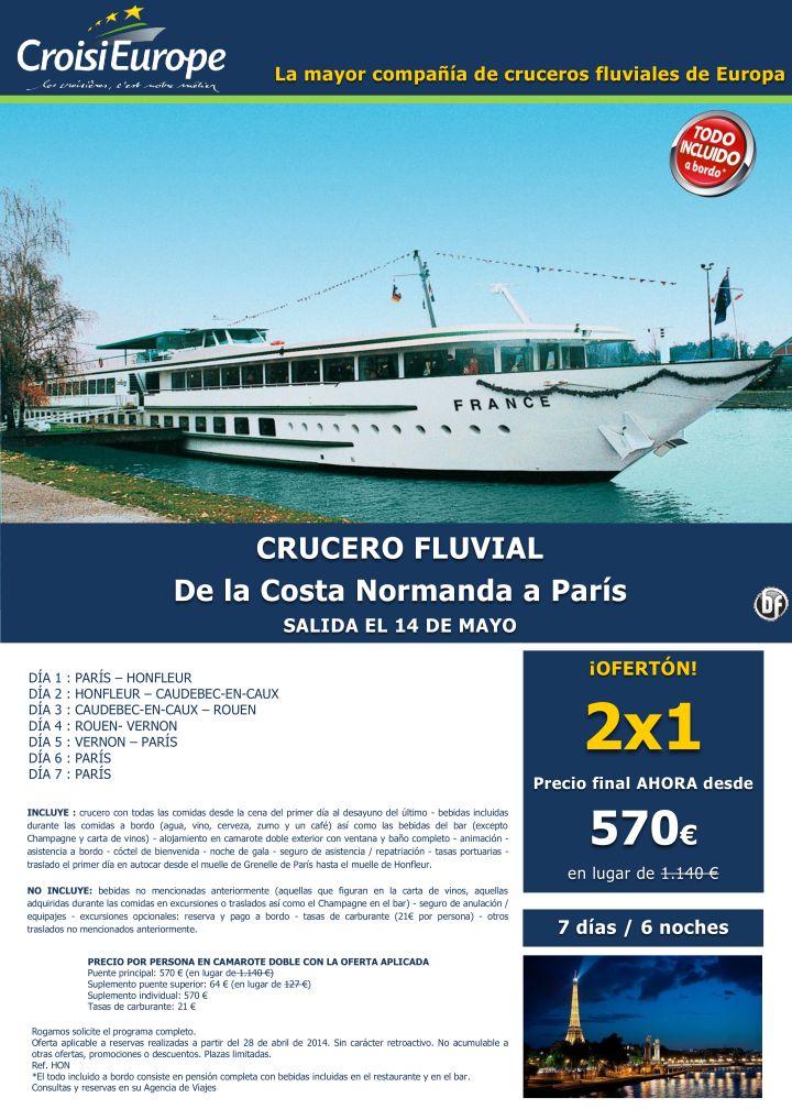 Oferta 2 x 1: Crucero fluvial De la costa Normanda a París ultimo minuto - http://zocotours.com/oferta-2-x-1-crucero-fluvial-de-la-costa-normanda-a-paris-ultimo-minuto/