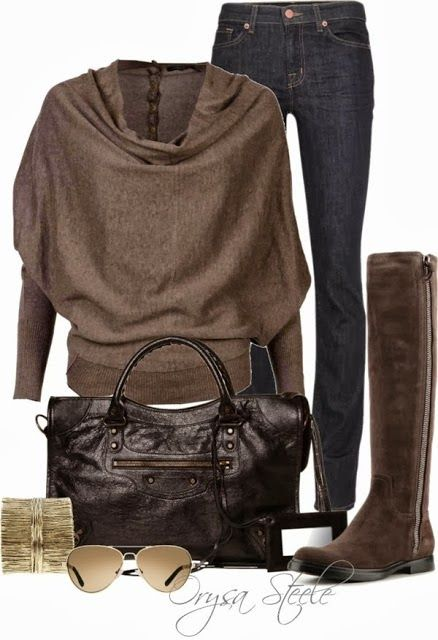 Adorable new style sweater, jeans, long boots and hand bag for winter and fall