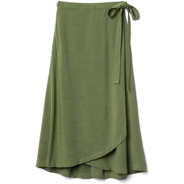 Gap Women Midi Wrap Skirt. ($48) ❤ liked on Polyvore featuring skirts, flared midi skirt, green a line skirt, midi flare skirt, mid calf skirts and green midi skirt