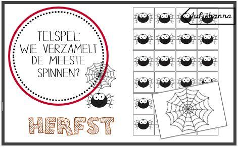 Juf Shanna: Thema herfst - telspel: wie verzamelt de meeste sp...