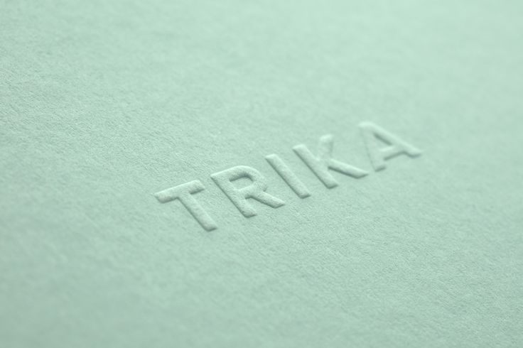 Logotype as a blind emboss by UK design studio Bunch for Croatian interior design business Trika
