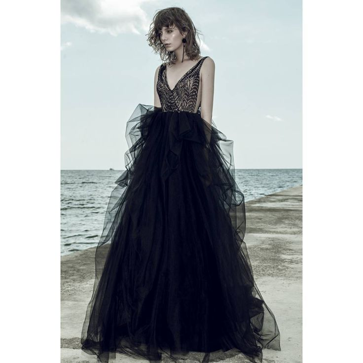 Ersa Atelier hand embroidered french lace and tulle evening ball gown