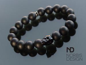 53141a7e4706 Men s Onyx Matt Natural Gemstone Skull Bracelet with Swarovski Crystal 6-9inch-Norbis  Gemstone