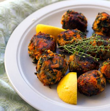 Crispy, yet melt in your mouth, spinach and sweet potato bombs.