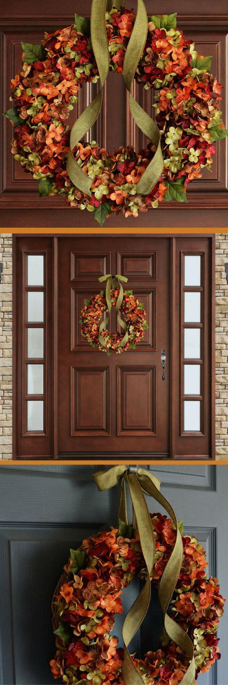 Fall Blended Hydrangea Wreath | Fall Decor | Autumn Wreaths | Front Door Wreaths | Outdoor Wreaths | Hydrangea Wreaths #ad #affiliatelink