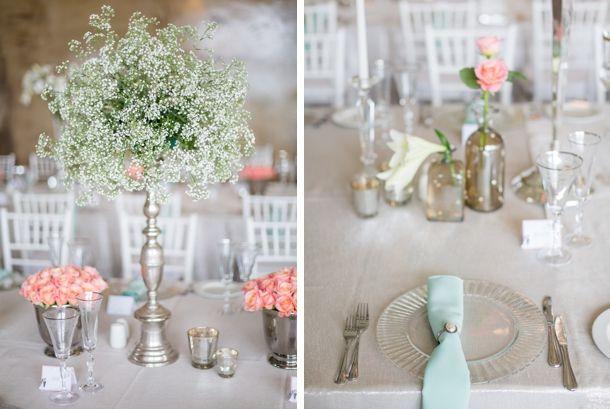 coral & aqua table decor #Pastel #Travel-theme Netherwood Wedding by Rensche Mari | SouthBound Bride