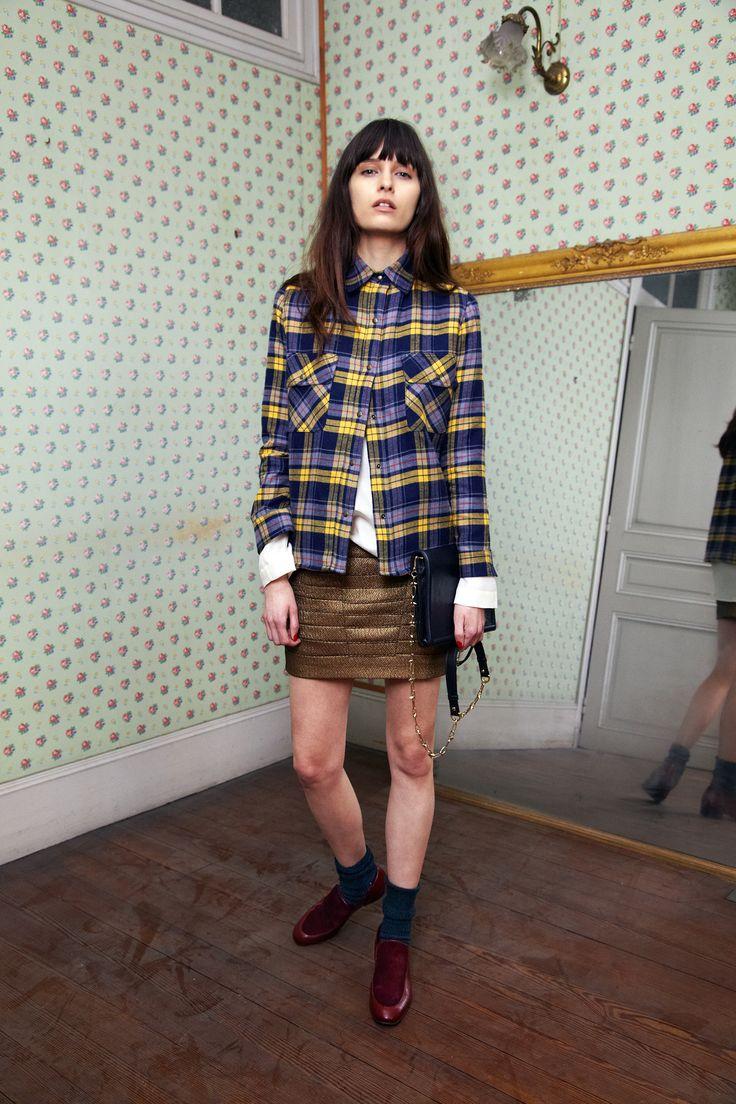 Leone - Chemise à carreaux jaune - Chase - Top en toile de laine et soie écrue…