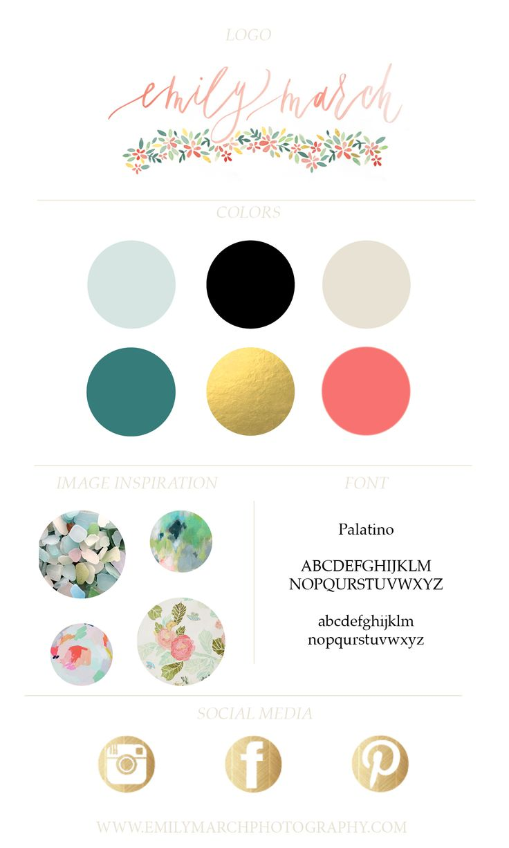 Emily March Photography Brand Board / watercolor logo