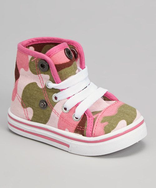Look at this Fuchsia Camo Fold-Over Hi-Top Sneaker on #zulily today!