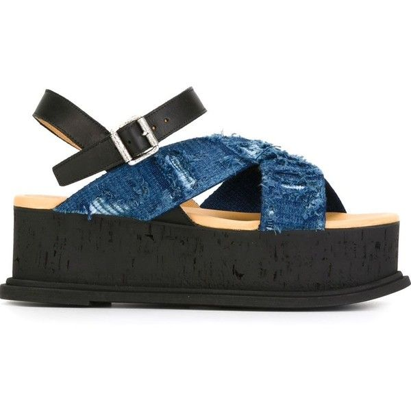 Mm6 Maison Margiela Platform Sandals (€210) ❤ liked on Polyvore featuring shoes, sandals, platform sandals, ankle tie sandals, black sandals, leather platform sandals and ankle strap sandals