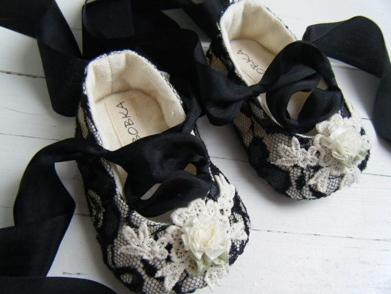 Charlotte Black Lace Organic Hemp Ballet Shoe $45  On Etsy