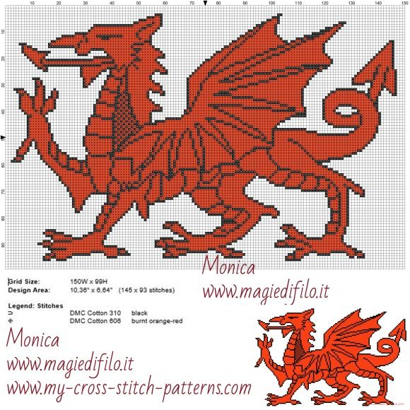 Welsh Dragon Cross Stitch Pattern Dragon Cross Stitch