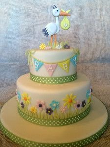 baby shower cake, stork                                                                                                                                                                                 Más