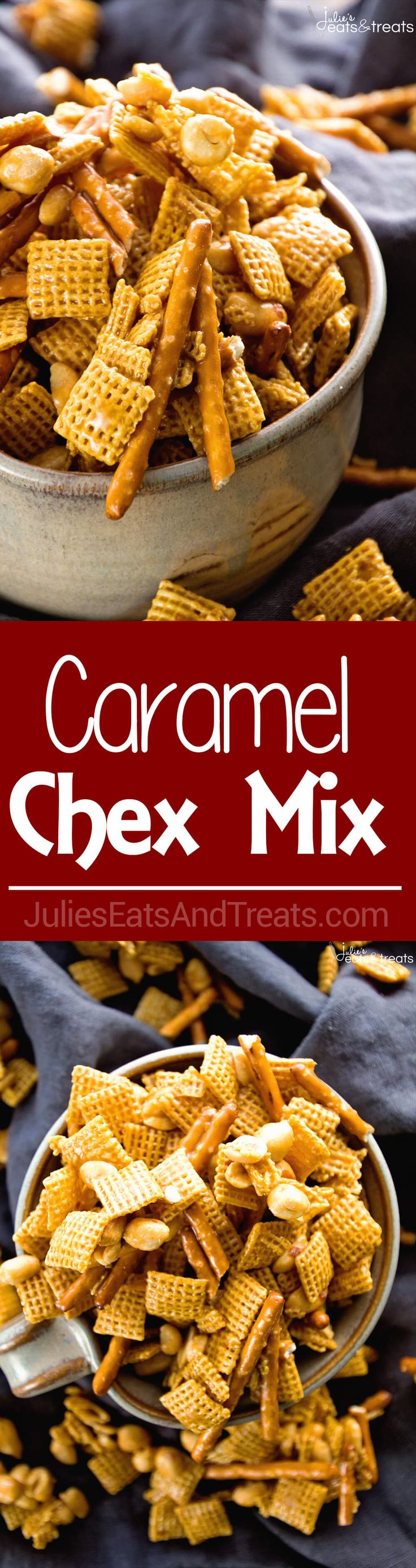 Caramel Chex Mix ~ The Perfect Blend of Sweet & Salty in this Snack Mix! Plus it's Perfect for Parties! Loaded with Chex, Peanuts, Pretzels and Coated in a Caramel! via @julieseats