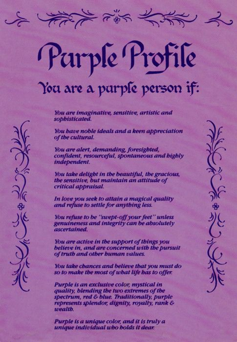 Purple Profile. Are you a purple person according to this?