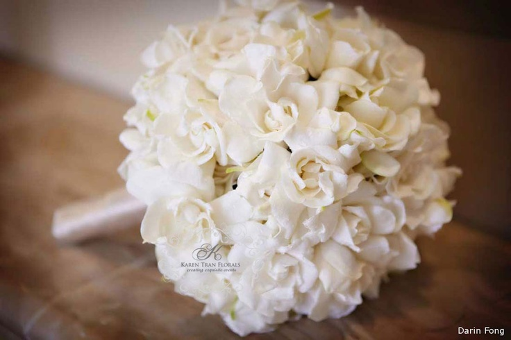 Gardenia bridal bouquet ~ beautifully hand wired wrapped with french satin ribbons