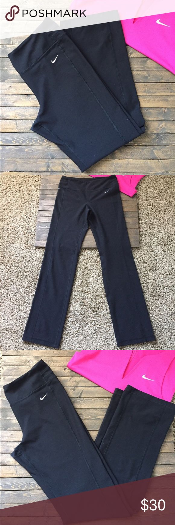 Nike yoga pants New and never been worn! They are just a little too big on me! They would probably fit a medium better if your looking for a snug fit. Feel free too make an offer! Nike Pants Leggings