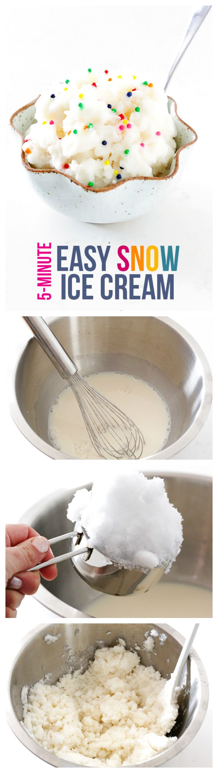 Snow Ice Cream -- it's so tasty, made with just 4 easy ingredients and REAL SNOW! | gimmesomeoven.com