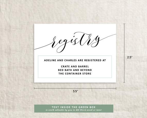 Check Compilation Of Free Printable Registry Cards Wedding Registry Cards Registry Cards Mothers Day Card Template