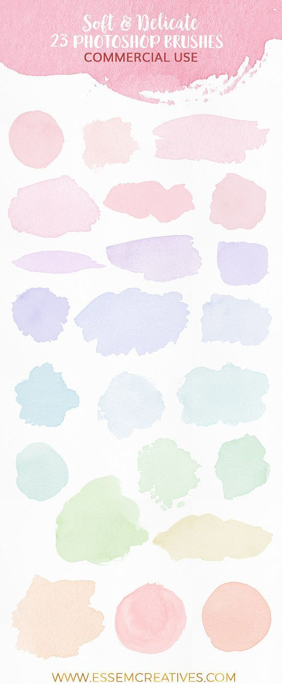 Watercolor Photoshop Brushes Feminine Logo Background Splash