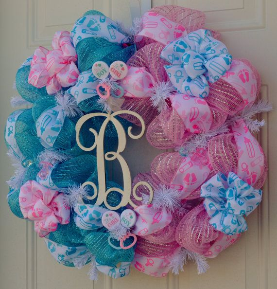 baby gender reveal wreath baby shower by welcomehomecreative wreaths