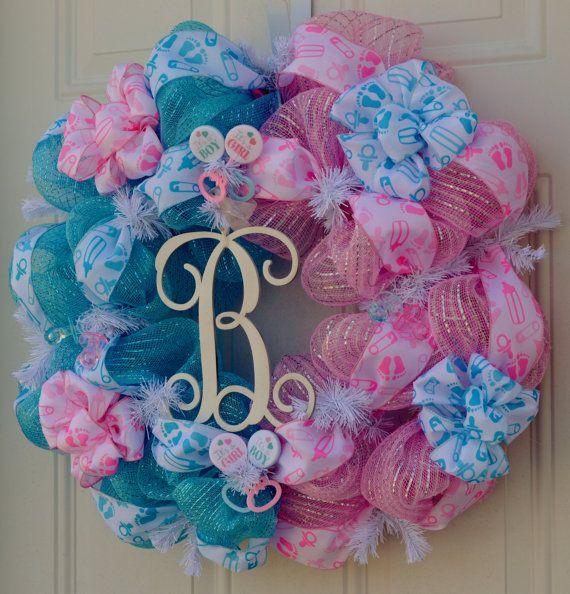 baby gender reveal wreath baby shower by welcomehomecreative wreaths