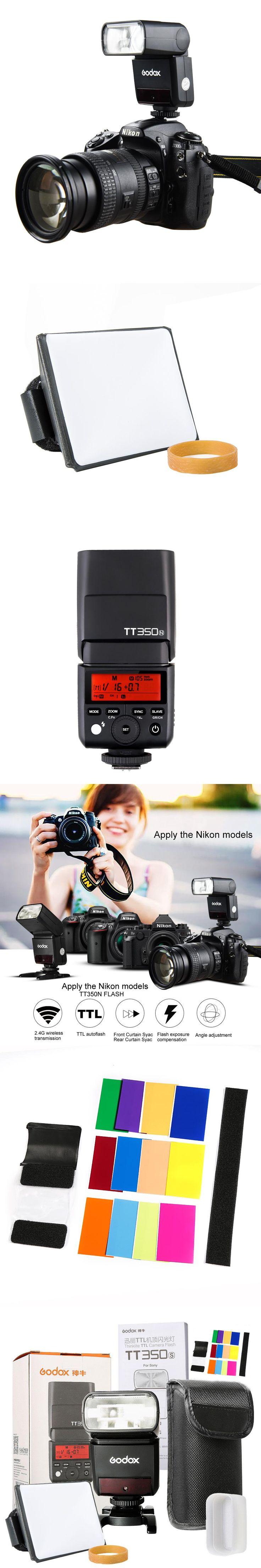 Godox Mini Thinklite i-TTL TT350N Camera Flash High Speed 1/8000s GN36 For Nikon Digital Camera with SoftBox+Color Filter Kit