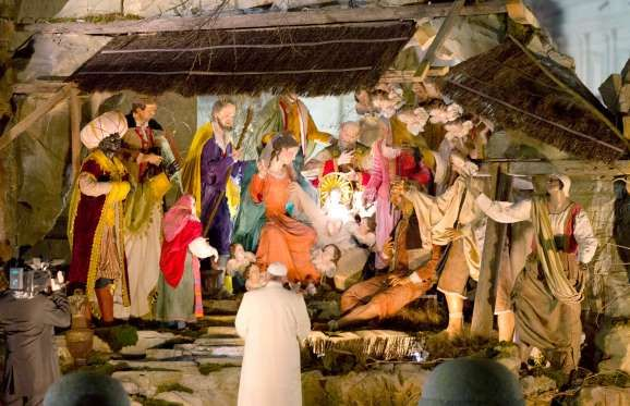 Pope Francis visits the Nativity scene in St. Peter's Square.