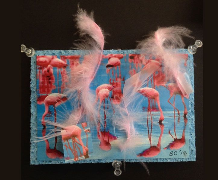 Title: Pink Flamingos   Artist: Barbara Center   Medium: feathers, sponge, collage   Dimensions: approximately 7 in x 5 in