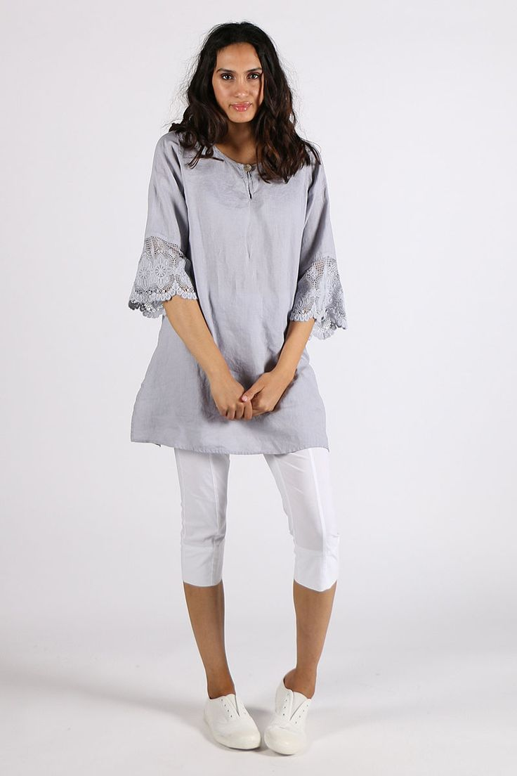 Valia - Lace Top By Valia In Grey
