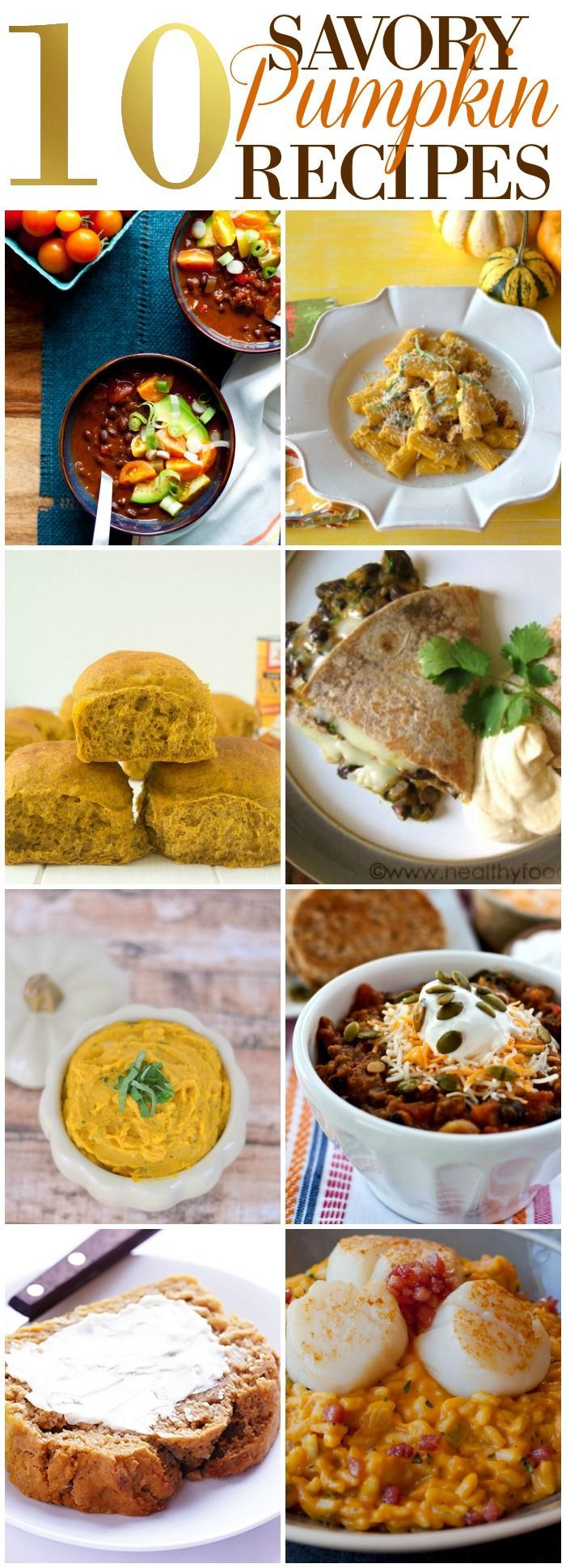 During the Fall sometimes you just need a good, ol' savory pumpkin recipe. Here's my collection of 10 Savory Pumpkin Recipes roundup!   Roundup   Pumpkin Recipes   Fall Recipe