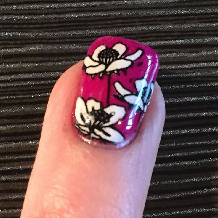 """No8 Nails (@no8nails) on Instagram: """"Gelish Dip Tahiti Hottie with Moyou Flower Power Collection 18. Took a magnifying glass and a lot…"""""""