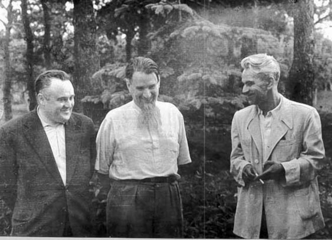 Area 51:Alleged to be Stalin's secret UFO study team are (standing left to right) Sergei Korolev, chief missile designer and inventor of Sputnik; Igor Kurchatov, father of Russia's atomic bomb; and Mstislav Keldysh, mathematician, theoretician, and space pioneer.