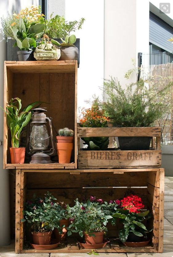 Balcony idea with wooden crates!